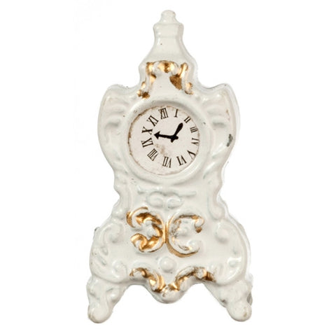 Mantle Clock, White and Gold