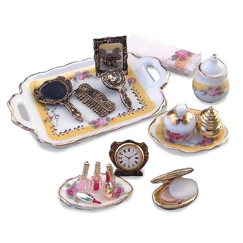 French Rose Reutter Porcelain Makeup Set