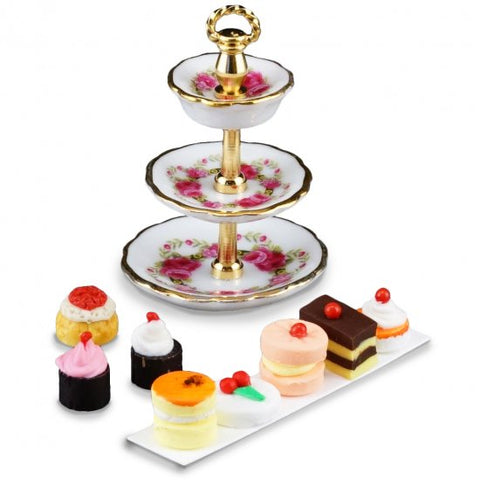 Three Tier Cake Stand with Cakes