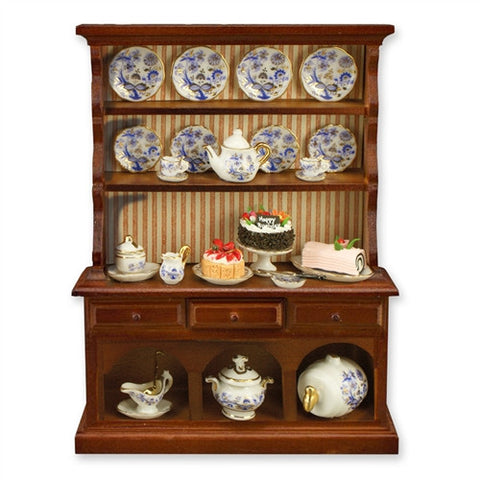 Kitchen Hutch with Blue Onion Dishes, by Reutter
