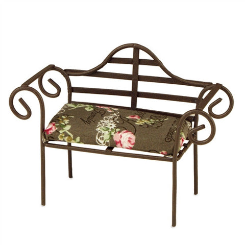 Wire Garden Bench w/Cushion