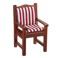 Garden Chair with Red and White Stripe Cushion