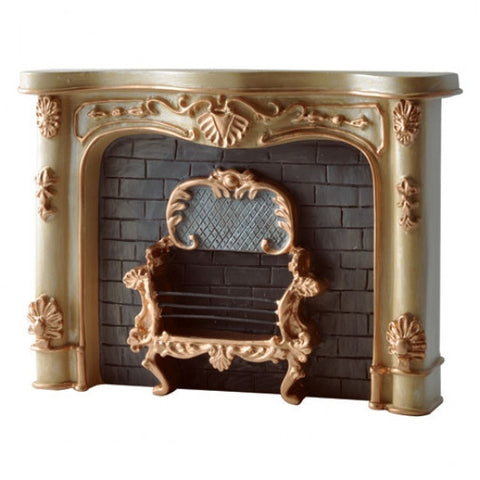 Reutter Fireplace, Cream and Gold