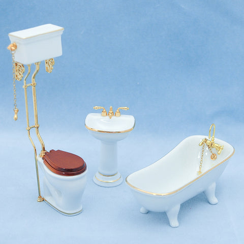Reutter Classic White Bathroom with High Tank Toilet