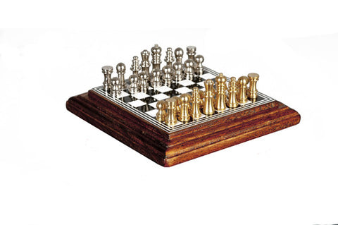 Chess Board with Chess Pieces, Walnut Finish