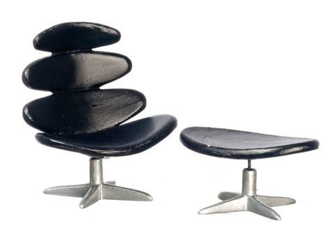 Modern Chair and Ottoman, Black