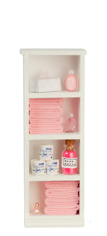Filled Narrow Bath Cabinet, Pink
