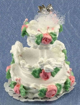 Wedding Cake, Pink Roses, Three Tier