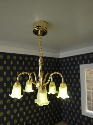 Chandelier, Five Arm Downward Tulip Shades, Battery Powered