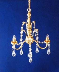 LED Battery Chandelier, Three Arm, Crystal