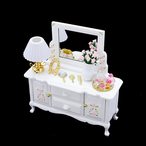 White Dresser with Mirror and Accessories