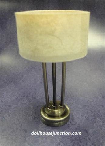 LED New Yorker Table Lamp, Platinum or Antique Brass Finish, Drum Shade