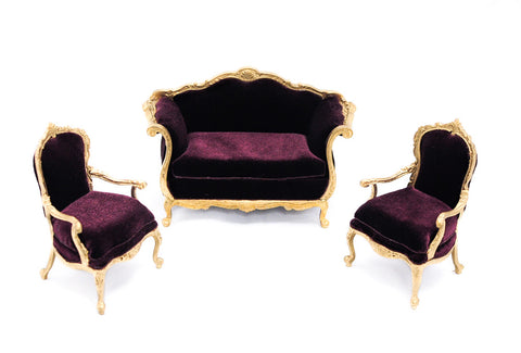 Gold and Burgundy Living Room Set by Bespaq