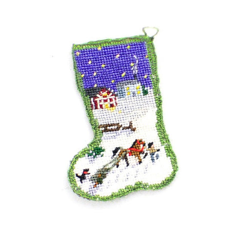 Christmas Stocking with Farm Scene