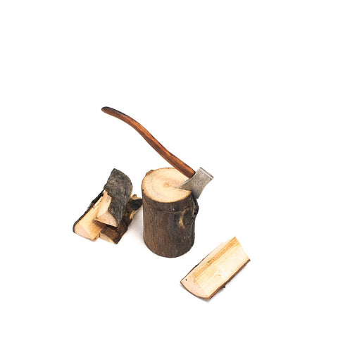 Wood Splitting Set with Axe and Wood
