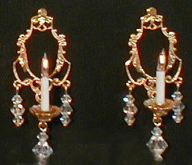 Symphony Sconces, Crystal and Gold, Pair