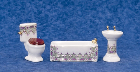 Bath Set, Three Piece, White with Purple, Green and Gold