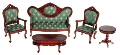 Victorian Living Room Set, Mahogany with Green Silk OUT OF STOCK