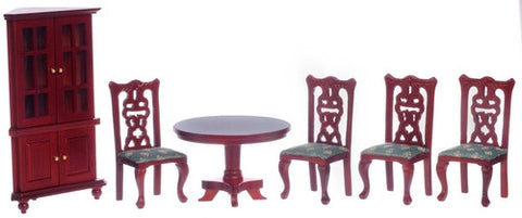 Dining Room Set, Round Table, Corner Cabinet, Mahogany