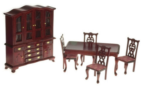 Dining Room Set, 6 Piece, Mahogany, Rose Fabric