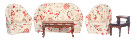 Five Piece Living Room Set, Cream Floral Print