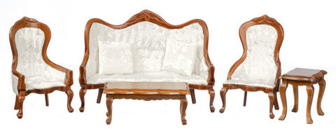 Victorian Living Room Set, New Walnut and White Silk