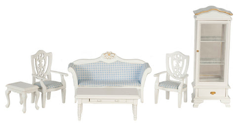 Living Room Set, White with Blue Check