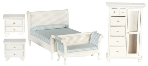 Bedroom Set, Five Piece, White with Blue Check