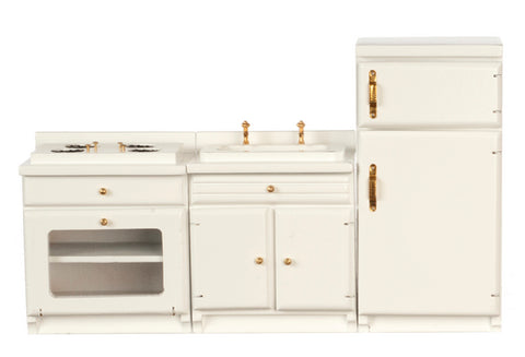 Kitchen Set, Three Piece, White ON SPECIAL