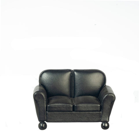 Leather Love Seat, Black, Right Sized