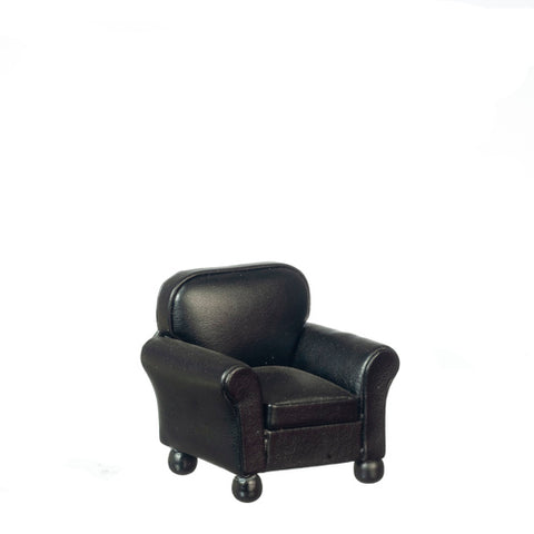 Leather Chair, Black, Right Sized