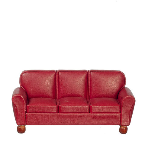 Leather Sofa, Burgundy, Right Sized