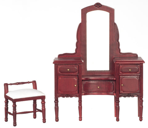 Vanity with Stool, Mahogany Finish