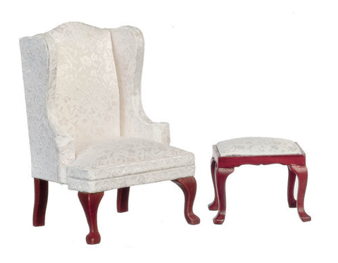 Wing chair and Ottoman, White Silk Brocade