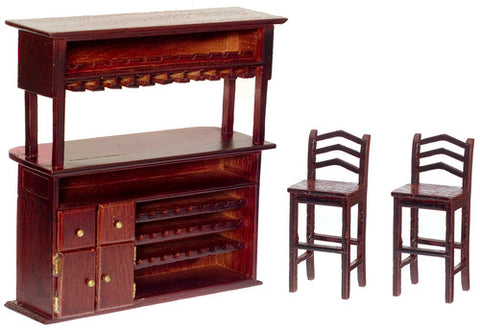 Bar and Two Stools, Mahogany