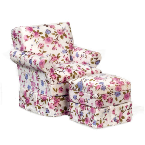 Chair and Ottoman,  Pink Floral Chintz
