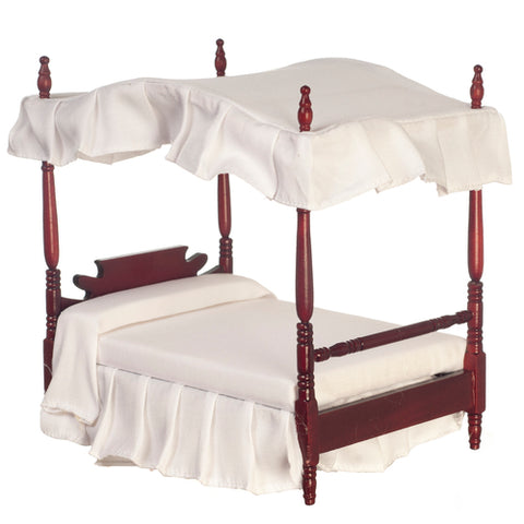 Canopy Bed, Mahogany with White Linens