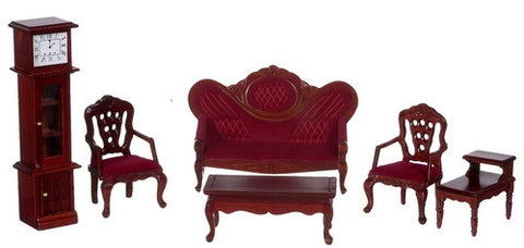 Victorian Living Room Set, Mahogany and Burgundy OUT OF STOCK
