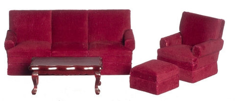 Living Room Set, Five Piece Burgandy Velour
