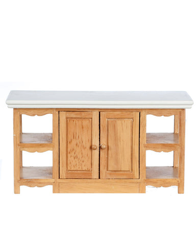 Kitchen Island, Oak with White Top
