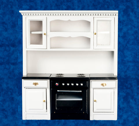 Kitchen Stove Wall Unit, White with Black