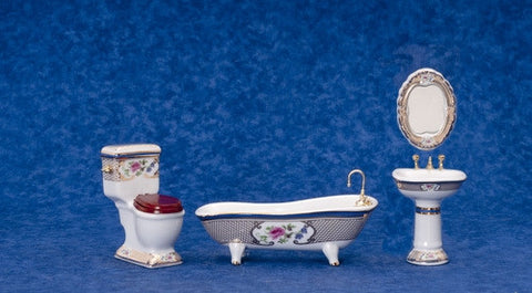 BATH SET/4/GOLD/FLORAL TRIM