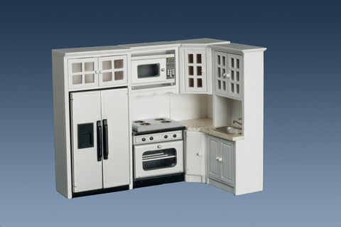 Four Piece Kitchen Appliance Set with Cabinets, White and Marble
