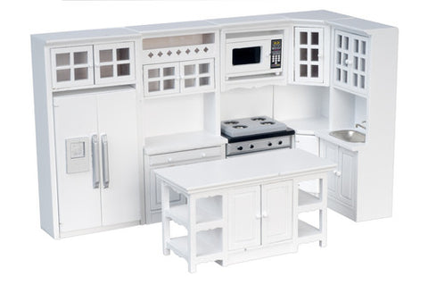 Kitchen Set,8 Pc. White with Island, Back In Stock and On Special