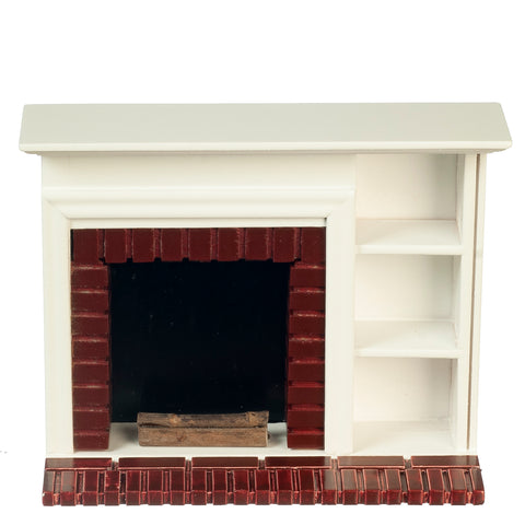 Fireplace with Book Shelves, White Finish