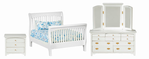 Slat Bedroom, Three Piece Set, White Introductory Price