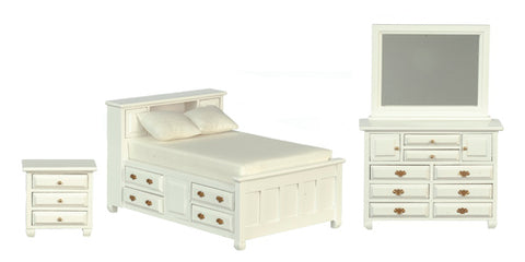 Bedroom Set, Double Bed with Drawers, White