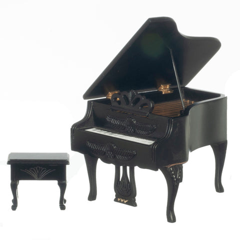 Carved Piano with Stool, Black