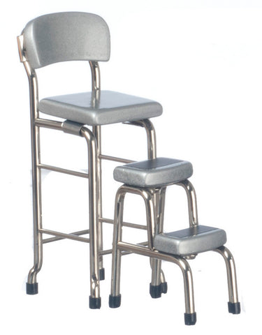 Kitchen Step Stool Chair Set, Silver