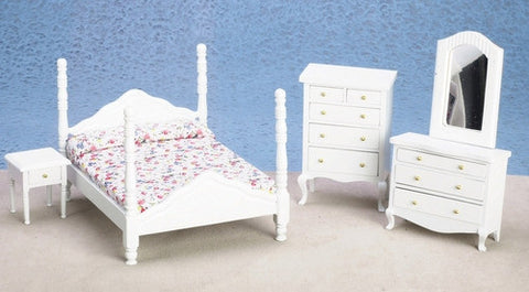 Bedroom Set, White, Five Piece Four Poster